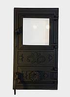 Дверца для печи со стеклом Эко, чугунная печная дверка в грубу