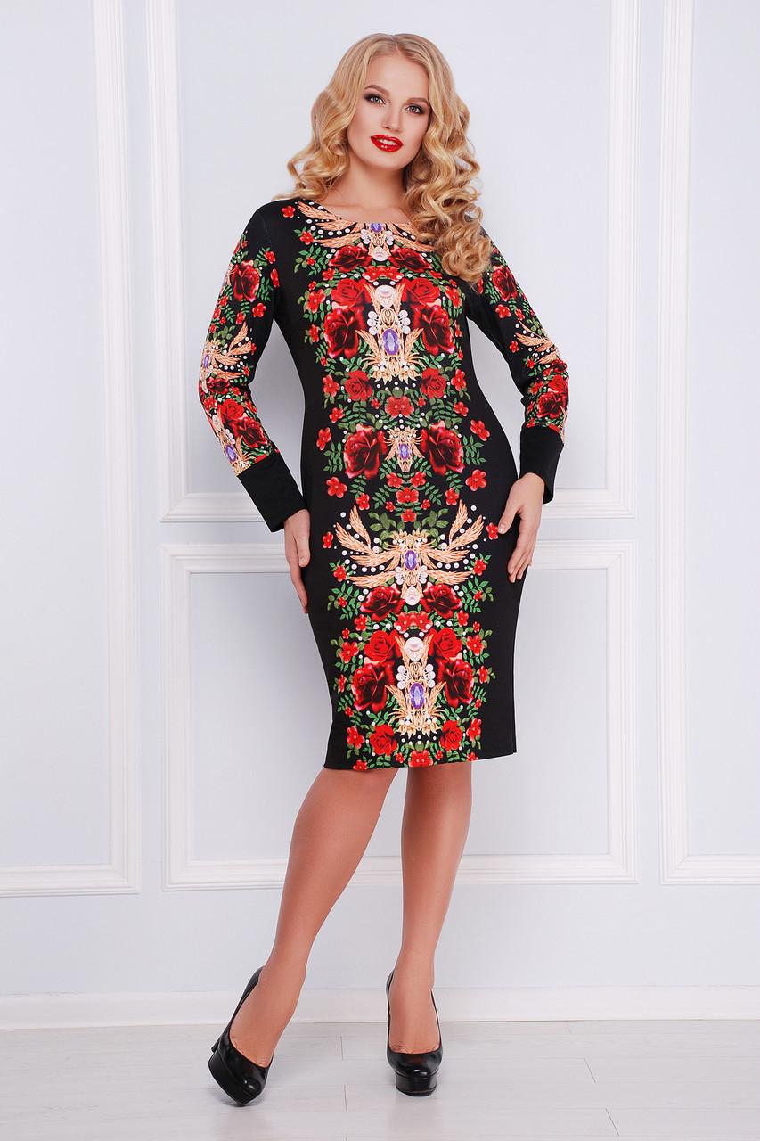 13af3df6a2f Женское черное платье футляр с крсивым цветочным принтом Jewelry rose