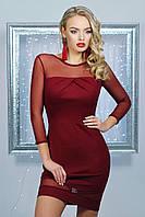 Вечернее облегающее короткое женское платье с верхом из сетки и открытой спинкой бордовое Агния д/р