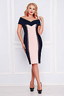 Нарядное женское платье-футляр с открытыми плечами темно-синее с розовым, большие размеры  Аделина-Б б/р
