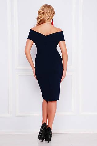 Нарядное женское платье-футляр с открытыми плечами темно-синее с розовым,  большие размеры 1106b357673