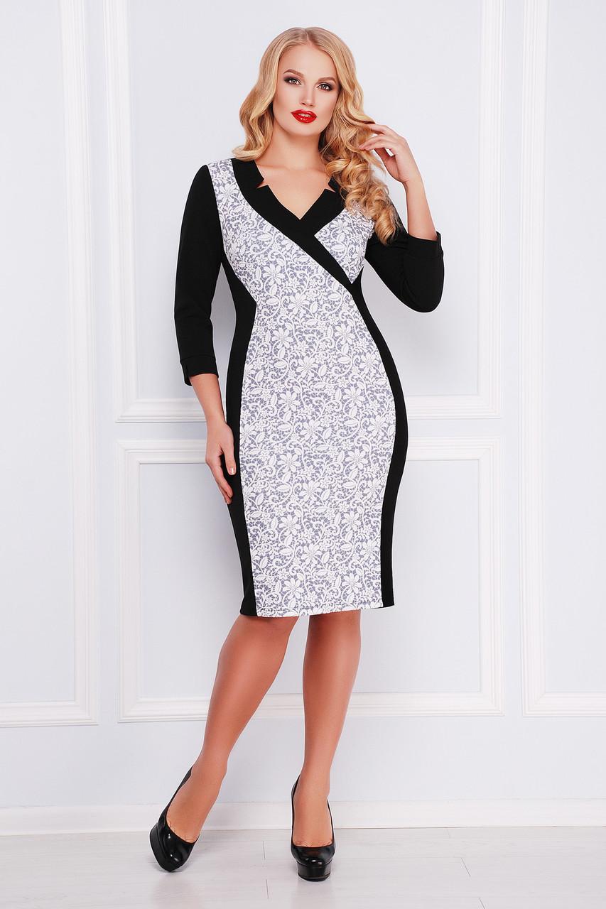 cc96308c634 Элегантное женское черное платье футляр с декольте и рисунком Кружево  серое