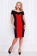 Нарядное женское платье-футляр с открытыми плечами черное с красным, большие размеры  Аделина-Б б/р