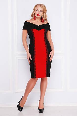Нарядное женское платье-футляр с открытыми плечами черное с красным,  большие размеры Аделина- 2f36e38db88