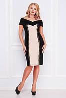 Нарядное женское платье-футляр с открытыми плечами черное с бежевым, большие размеры  Аделина-Б б/р