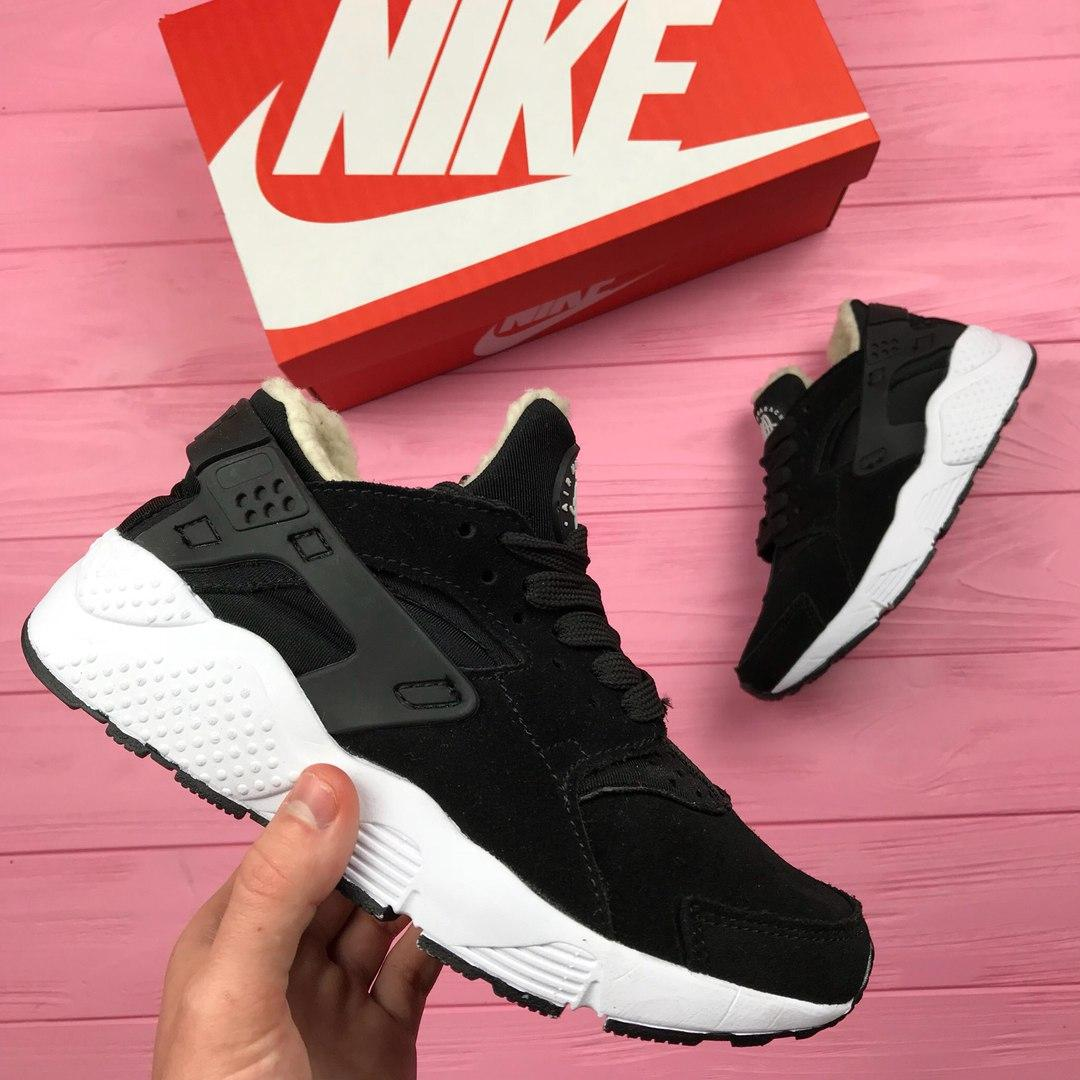 Кроссовки Nike женские зимние (черные), ТОП-реплика