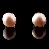 Жемчуг розовый, Ø5-6 мм., пуссеты (серьги-гвоздики), 306СРЖ