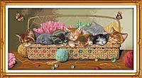 Котята в корзине Набор для вышивки крестом с печатью на ткани 14ст