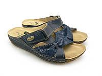 Женские шлепанцы эко кожа, синий (35-40), домашняя и прогулочная обувь