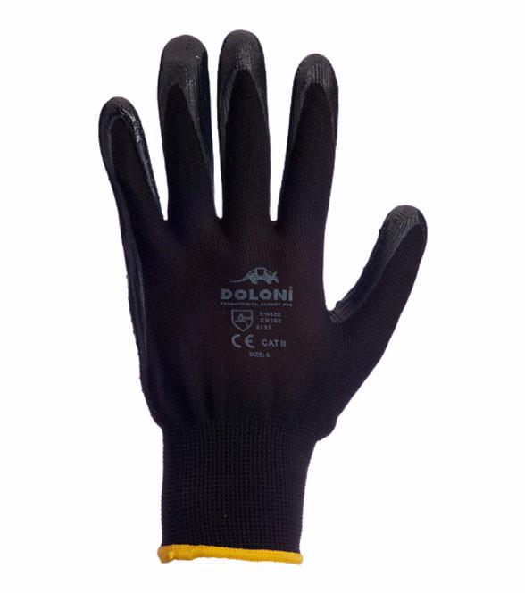 Рабочие перчатки нейлоновые с нитриловым покрытием неполный облив 13 класс Doloni 4522