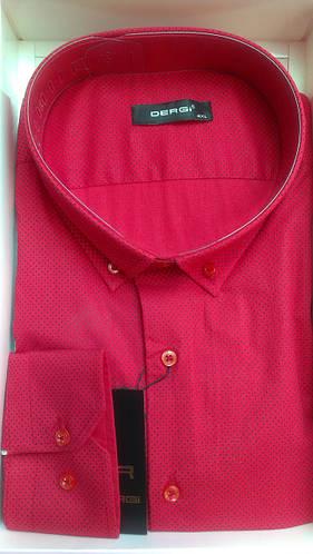 Мужская рубашка батал DERGI большого размера с длинный рукавом красная в точку Одесса