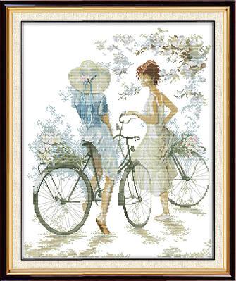 Велосипедистки 056 Набор для вышивки крестом канва 14ст