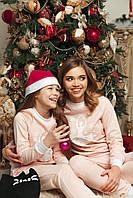 Домашній костюм піжама Рожева з білою балериною