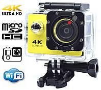 Экшн камера 4K wi-fi + Видеорегистратор+ Аквабокс +крепления аналог Go Pro