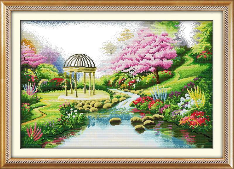 Романтический сад F119 Набор для вышивки крестом с печатью на ткани 14ст