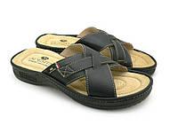 Мужские шлепанцы эко кожа, черный (41-46), домашняя и прогулочная обувь