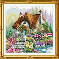 Цветочный дом Набор для вышивки крестом с печатью на ткани 14ст