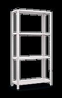 Стеллаж REK 1 на болтовом соединении БЕЛЫЙ (1500х750х300) 4 металлические полки