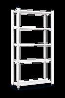 Стеллаж (1840х950х340) Элегант 1 на болтовом соединении БЕЛЫЙ, 5 металлических полок