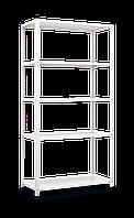 Стеллаж (1840х950х440) Элегант 2 на болтовом соединении БЕЛЫЙ, 5 металлических олок