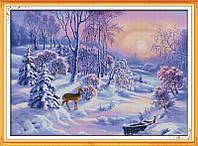 Зимний лес Набор для вышивки крестом с печатью на ткани 14ст