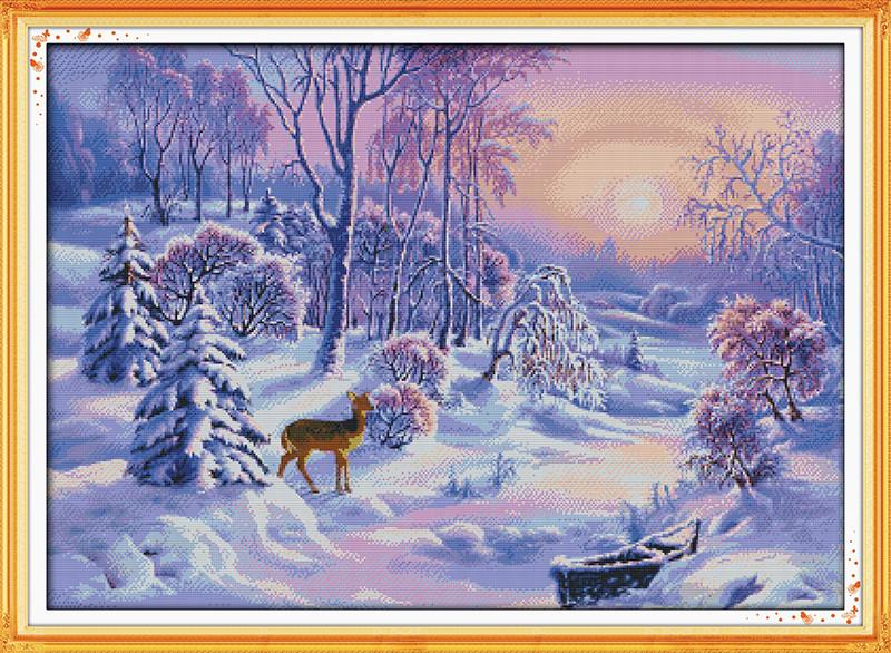Зимний лес F368 Набор для вышивки крестом с печатью на ткани 14ст