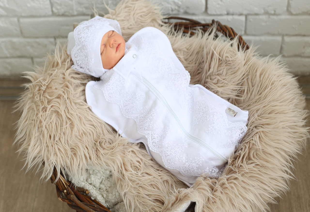Пеленка+шапочка на выписку или крещение, 0-3м