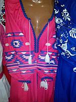 Платье в стиле бохо вышитое розовое