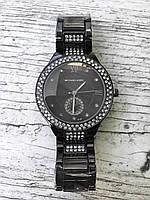 Женские наручные черные часы с камнями MICHAEL KORS