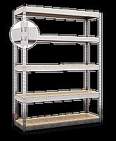 215х120х40, Стеллаж 5 полок ДСП/МДФ 400 кг на полку полочный оцинкованный металлический на склад