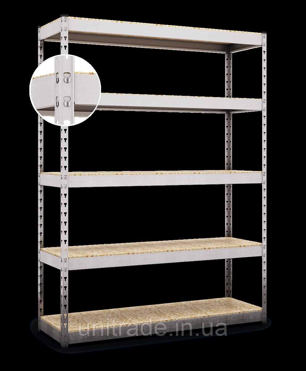 215х160х70, Стеллаж 5 полок ДСП/МДФ 400 кг на полку полочный оцинкованный металлический на склад гараж