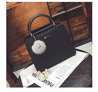 Женская сумка с ручками и плечевым ремешком черная из экокожи опт , фото 1
