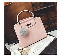 Женская сумка клатч розовая с ручками и плечевым ремешком из экокожи, фото 1