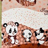 221157492 - Велсофт коричневый, мишки-панды, ш.220