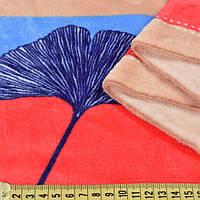 221397492 - Велсофт бежевый, голубые, синие, алые полоски, синие листья, ш.220