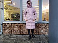 Женская зимняя удлиненная куртка Адель пудра