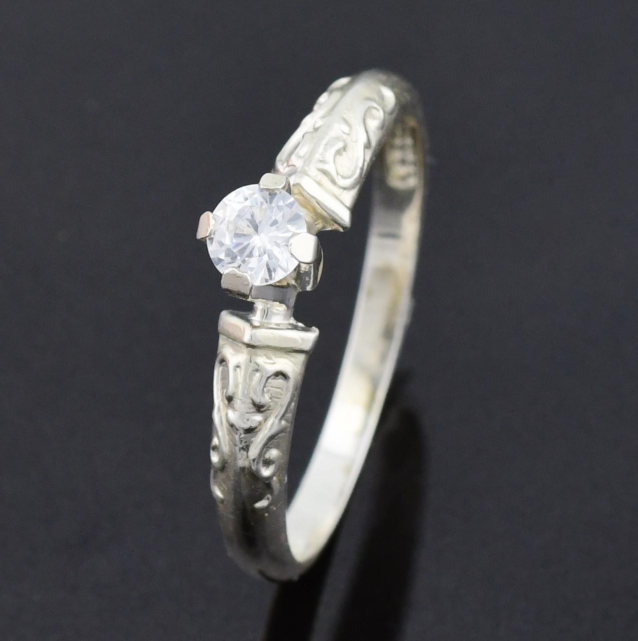 """Серебряное кольцо """"Алмаз"""", вставка белый фианит, вес 1.6 г, размер 20"""