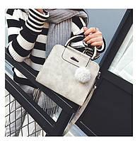 Жіноча сумка з ручками і плечовим ремінцем сіра з екошкіри, фото 1