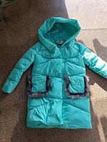Женская стильная зимняя куртка/холлофайбер/бирюзового цвета оптом