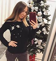 Модный женский свитер Бантик чёрный