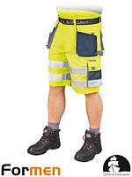 Шорты рабочие сигнальные  желтые мужские FORMEN Leber&Hollman Польша (спецодежда летняя) LH-FMNX-TS YGS