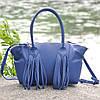 Женская кожаная сумка Bordo синяя, фото 3