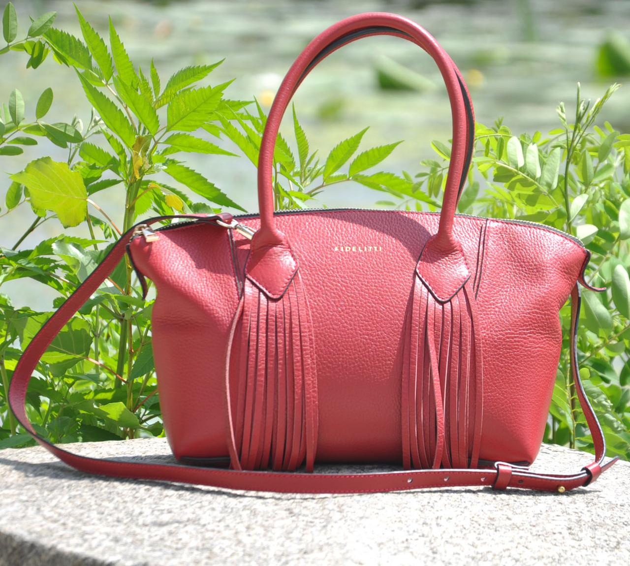 Женская кожаная сумка Bordo красная