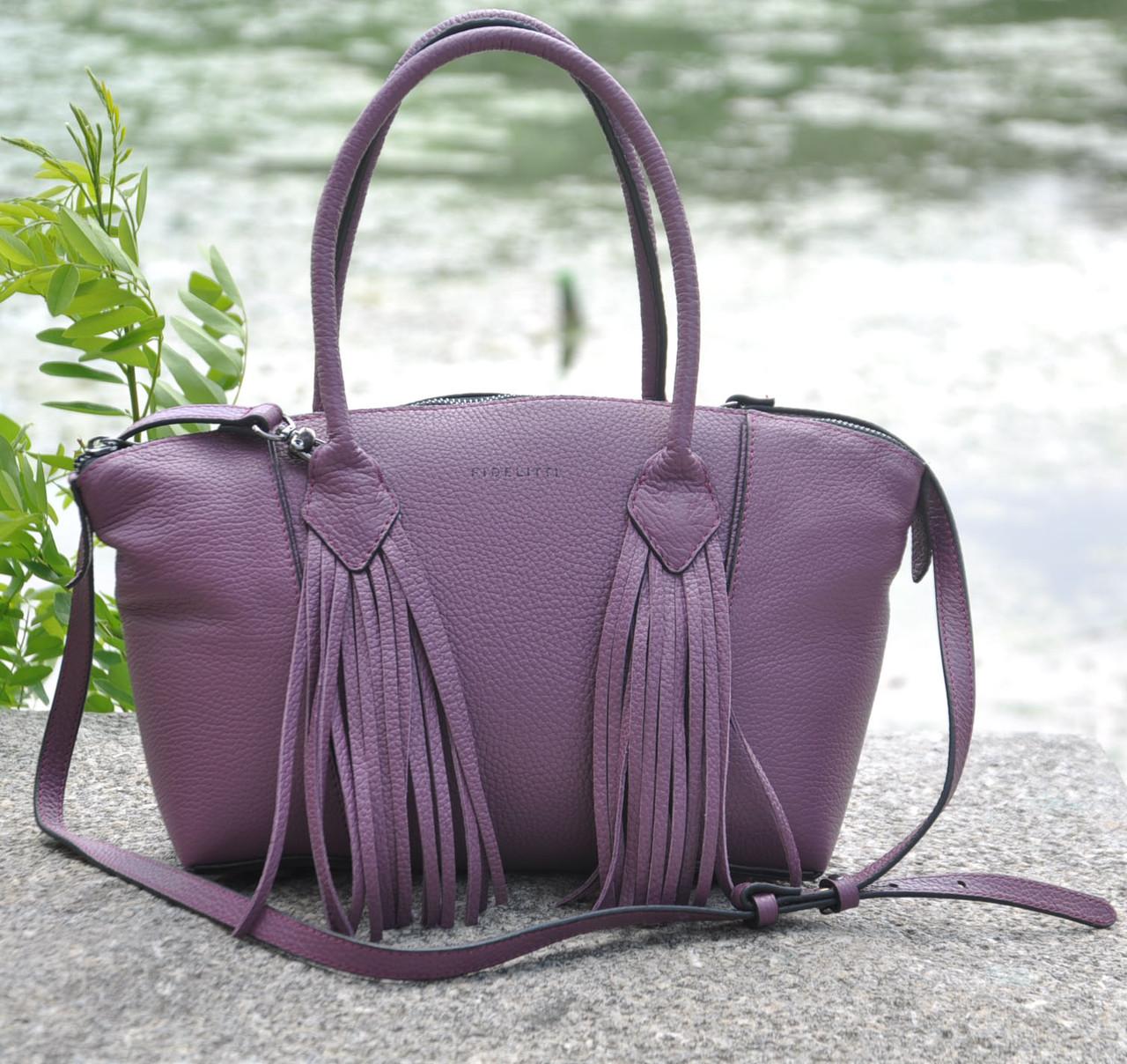 Женская кожаная сумка BORDO лиловая