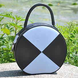 Женская кожаная сумка Tondo черная с голубым гладкая