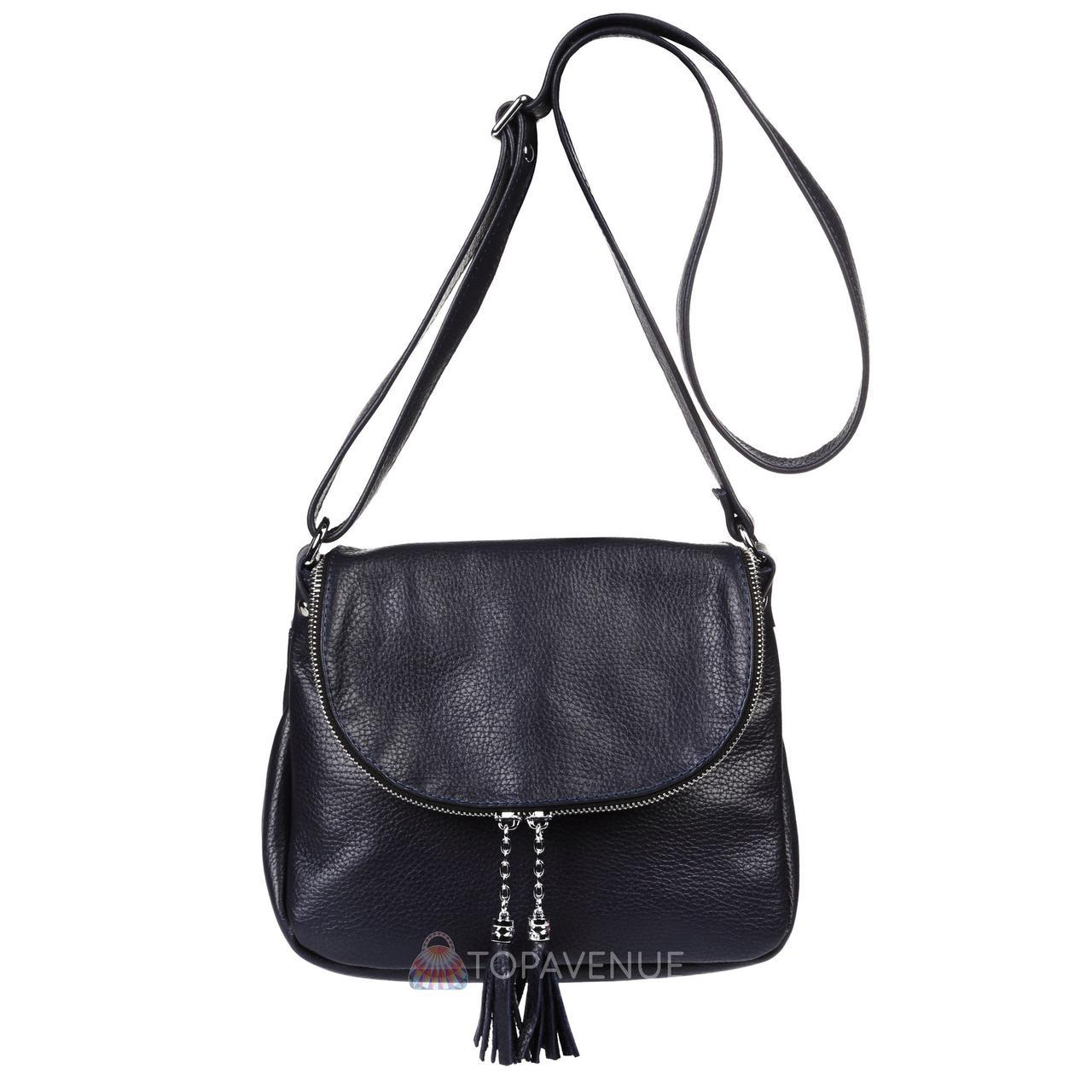 Женская кожаная сумка Марсель синяя