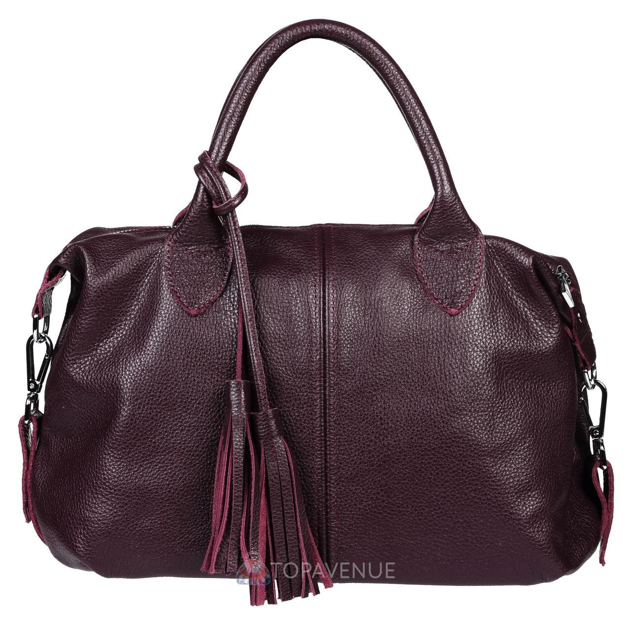 7b3f4027bb96 Кожаная женская сумка Барселона виноградная - Интернет магазин