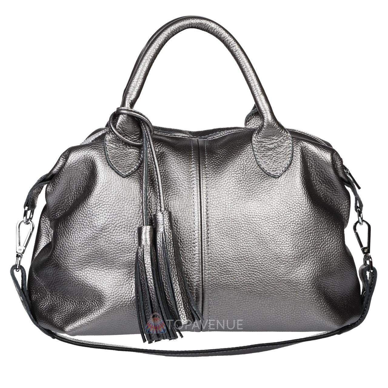 ec0c5c247e68 Кожаная женская сумка Барселона никель - Интернет магазин