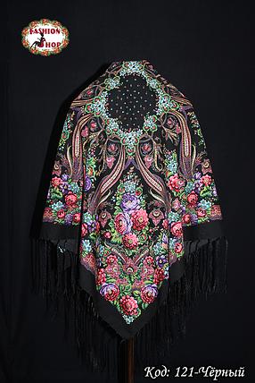 Павлопосадский чёрный платок Адель, фото 2