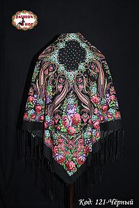 Павлопосадский чёрный платок Адель